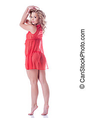 Image of flirting slender girl in red negligee - Image of...