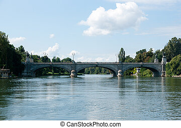 A bridge on Po river - Torino Po river bridge in summer...