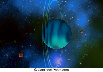 URANUS - Vertical rings surround the planet of Uranus.