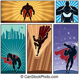 Superhero Banners 2 - Set of 5 superhero banners. No...