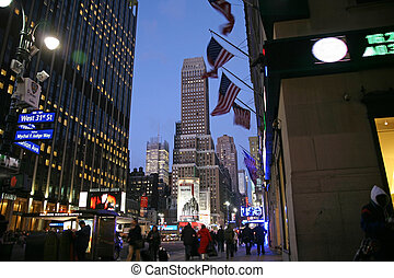 Nighttime in NY features with Madison Square Garden - NEW...