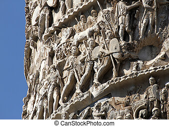 scenes of war and many Romans warriors sculpted in Trajans...