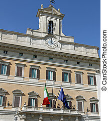 Palazzo Montecitorio headquarters of the Italian Parliament...