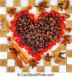 Valentines Day - Heart of the coffee and cherries laid out...