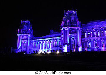 Night view of The palace Tsaritsyno history museum in...