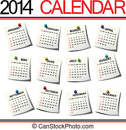 2014 Calendar against white background