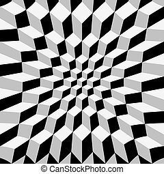 Abstract op art - Abstrat warped cube background, op art