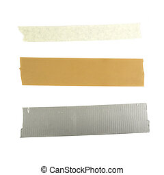 Different types of Tapes - Three pieces of tape duct tape...