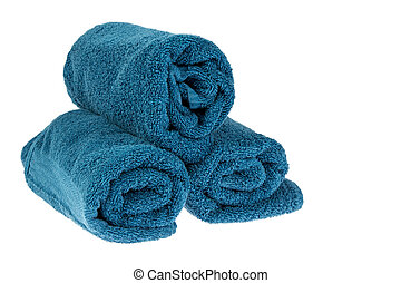 Blue towels rolled up