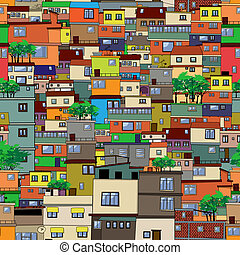 Cartoon city, seamless pattern design