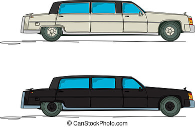 Cartoon limousine - Limousine cartoon over white background