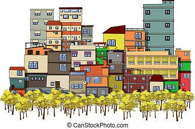 Cartoon city - Cartoon drawing of a city with trees and...