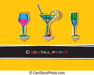 Cocktail party card - Pop art cocktail party card