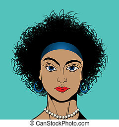 Curly hair girl - Curly hair blue eyes girl avatar drawing