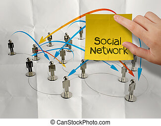 hand holding sticky note social network 3d stainless human...