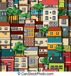 Favela seamless pattern - Brazilian favela, seamless pattern...