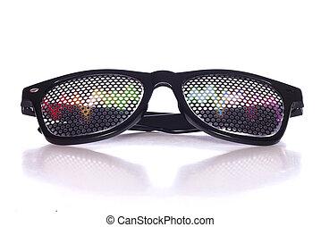 Rave music fancy dress glasses studio cutout