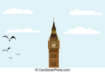 Big Ben Blue Skies - The London landmark Big Ben Clocktower...