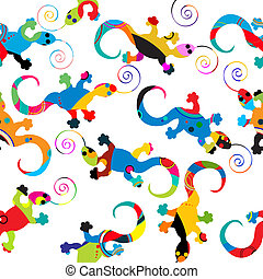 Gecko pattern - Seamless background pattern with gecko made...