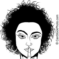 Girl asking for silence - Comic style black and white...