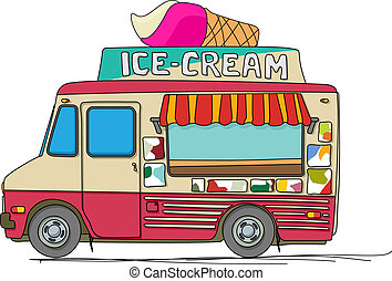 Ice cream truck cartoon drawing over white