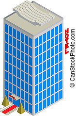 Isometric hotel icon - Isometric drawing of a tall hotel...