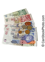 Money on white - South African money isolated on a white...