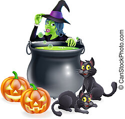 Witch Cartoon Halloween Scene - A cartoon Halloween scene...