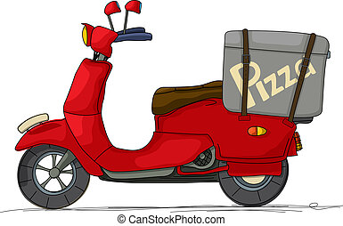 Pizza scooter - Pizza delivery scooter cartoon over white