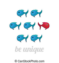 Be unique concept, blue and red fish, isolated vector...