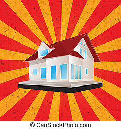 Retro style house graphic - Retro style illustration of a...