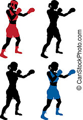 Female boxer boxing - An illustration of a female boxer or...