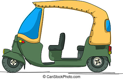 Rickshaw cartoon over white background