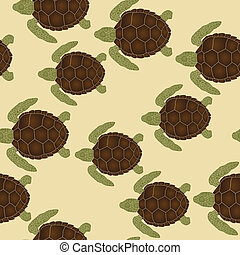 Sea turtles pattern - Seamless pattern with swimming sea...