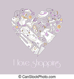 Heart from stylish hand drawn set of fashion items - I love...