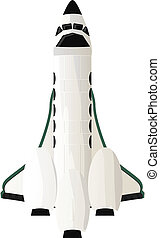 Shuttle - Spaceship, shuttle design. Isolated objects on...