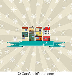 Winter holidays card with houses
