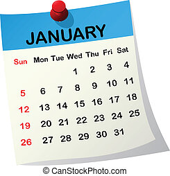 2014 calendar for January - 2014 paper sheet calendar for...