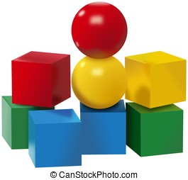 Colored set of balls and cubes toys - Colored set of plastic...