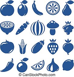 icons of fruits and vegetables - isolated icon of vegetables...