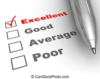 Excellent evaluation. Pen on evaluation form, with Excellent...