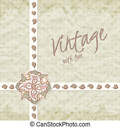 Vintage invitation with ornate detailed flower