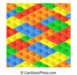 Seamless construction, plastic colourful blocks
