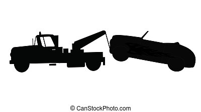 car being towed  - tow truck in action in silhouette
