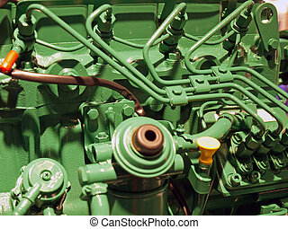 Details of a diesel engine motor in close up