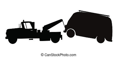 tow truck towing van  - tow truck silhouette
