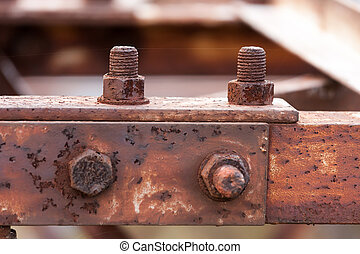 Corrosive rusted bolt with nut