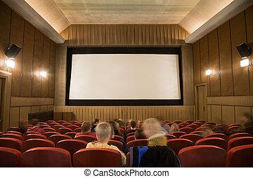 映画館, レトロ, 人々