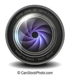 Camera photo lens with shutter. Vector EPS10