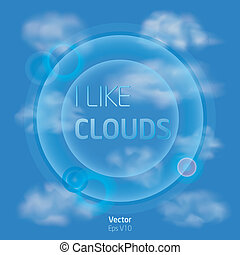 I like clouds - Blue sky with clouds and flashs - vector...